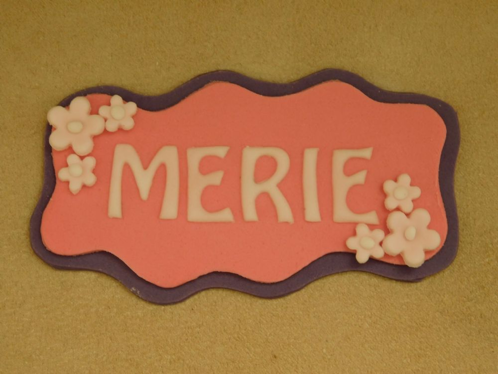Name Plaque Cake Topper